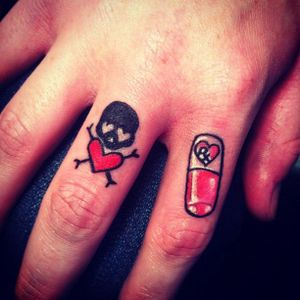 Poison and pill tattoo by Jessica Smith #JessicaSmith #pilltattoo #pill #pills #poison #heart #skull #fingertattoo