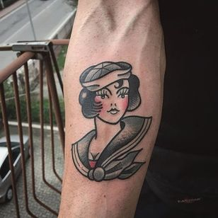Sailor woman tattoo by Vinz Flag. #VinzFlag #popculture #cartoon #bold #color #sailor #woman #traditional