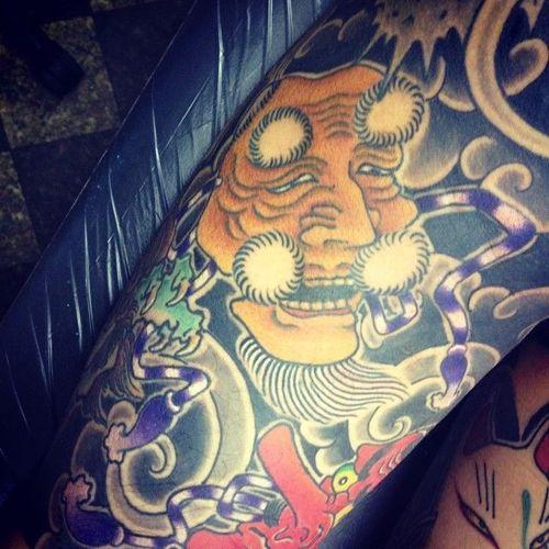 Okina Mask Tattoo, artist unknown #OkinaMask #NohMask #Japanesetattoo