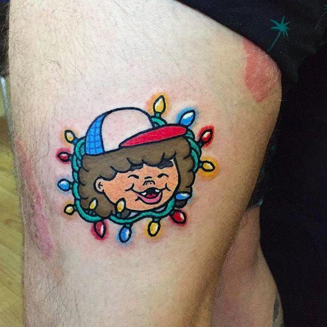 Dustin from Stranger Things Tattoo by Maria Truczinski #MariaTruczinski #Cartoon #Kawaii #Cartoontattoo #Kawaiitattoo #DustinHenderson #Strangerthingstattoo