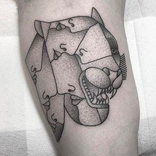 Many faced Beast Tattoo by Caleb Kilby @CalebKilby #CalebKilby #CalebKilbyTattoo #Blackwork #Minimalist #Linework #Black #TwoSnakesTattoo #London