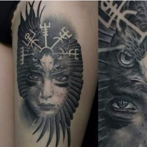 Gorgeous tattoo by Ivan Dan #vegvisir #IvanDan #vikingcompass #viking #symbol #realistic #blackandgrey #eagle