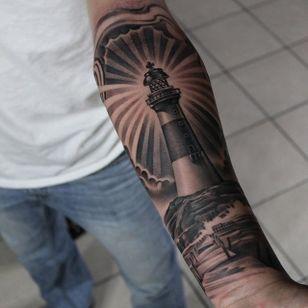 Lighthouse. (via IG - ericmarcinizyn) #EricMarcinizyn #BlackandGrey #Realism #Lighthouse
