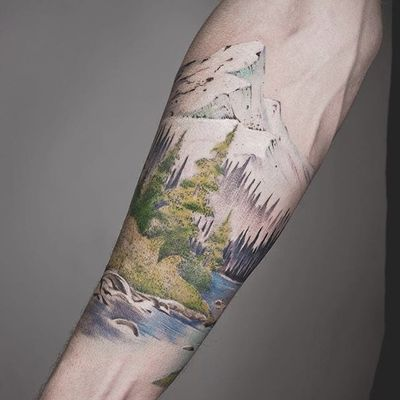 Nature piece by Tritoan Ly #TritoanLy #color #tree #mountain #river #nature #tattoooftheday