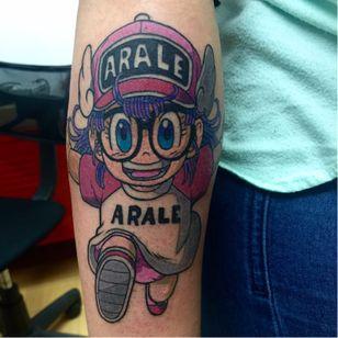 Arale Norimaki tattoo by Franky Maldonado. #anime #dragonballz #arale #aralenorimaki #kawaii #cute #littlegirl #drslump #FrankyMaldonado