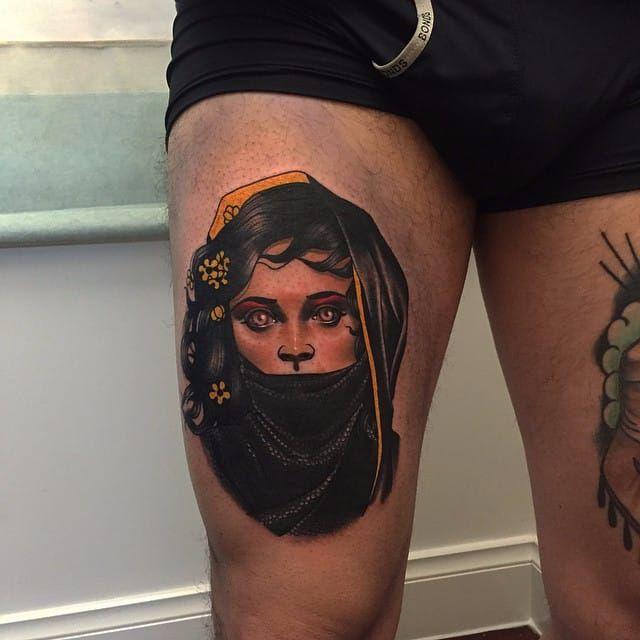 Neotraditional portrait tattoo by Dan Molloy. #DanMolloy #neotraditional #portrait