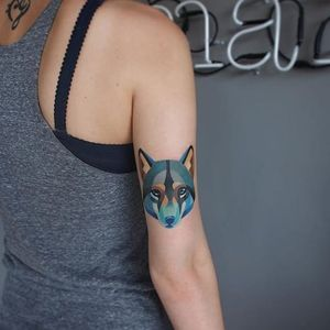 Clever fox by @sashaunisex #tinytattoo #tiny #smalltattoo #fox #geometry #geometric #blue #sashaunisex #watercolor