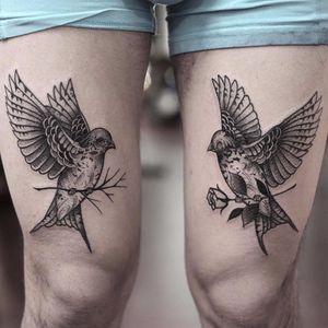 Birds of a feather by Jonas Ribeiro #JonasRibeiro #birds #nature #feathers #wings #rose #blackwork #blackandgrey #linework #newtraditional #tattoooftheday
