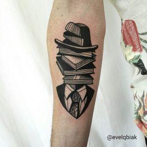 Blackwork Book Lover Tattoo by Evel Qbiak #Blackwork #BlackworkTattoos #BlackInk #ContemporaryTattoos #ModernTattoos #BlackInk #BlackworkArtists #Books #Book #Hat #Suit #EvelQbiak