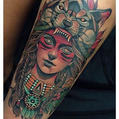 Native girl by Johnny Domus (via IG- @johnny_domus_mesquita) #neotraditional #portrait #johnnydomus #ladyhead