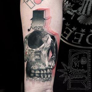Realistic skull within a man silhouette via @chrisrigonitattooer #chrisrigroni #mixedstyles