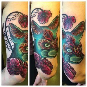 Dog tattoo by @kajsa_redrosetattoo #redrosetattoo #gothenburg #sweden #psychedelic #neotraditional #geometric #mendhi #dog