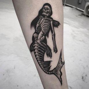 Mermaid tattoo by @Garaskull #skeleton #black #blackwork #xray #mermaid
