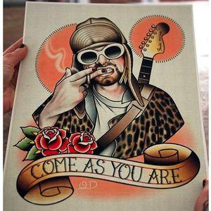 Kurt Cobain flash painting by Quyen Dinh. #QuyenDinh #parlortattooprint #flash #tattooflash #paintings #flashpaintings #traditional #popculture #artist #kurtcobain #nirvana #band #icon #musician #singer #FlashFriday