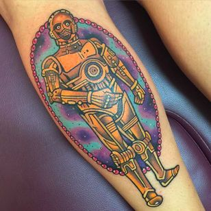 Awesome C3PO Tattoo by Sarah K @SarahKTattoo #SarahKTattoo #SouthAustralia #Neotraditional #Colorful #Pop #bright_and_bold #Neotraditionaltattoo #C3PO