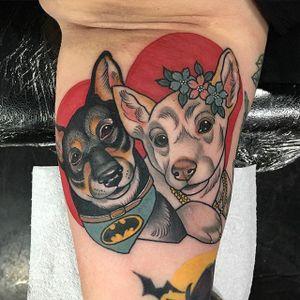 Cute Puppy Tattoo by Sadee Glover @sadee_glover #sadeeglover #sadee_glover #cute #neotraditional #dogs #batman