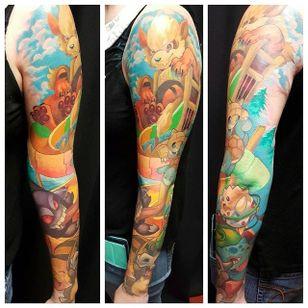New school sleeve tattoo by Mitchel Von Trapp @Mitchelmonster #Mitchelvontrapp #Newschool #Fantasy #AtomicZombietattoo