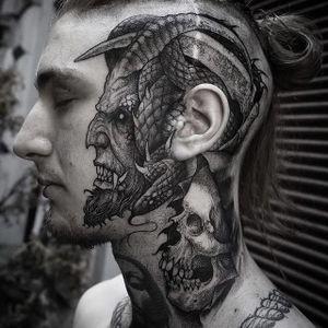 Devil by Rob Borbas #RobBorbas #blackandgrey #horror #devil #skull #tattoooftheday