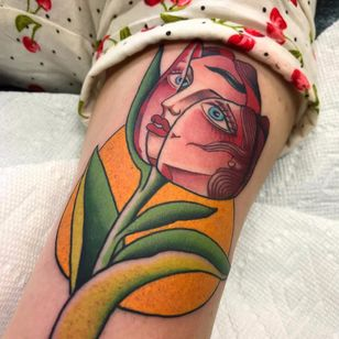 Tulip face by Shaun Topper #ShaunTopper #traditional #portrait #color #tulip #leaves #flower #floral #face #lady #sun #tattoooftheday