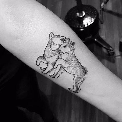 Puppy love by Ed Zlotin #EdZlotin #blackwork #linework #dotwork #illustrative #dog #puppy #husky #petportrait #animal #tattoooftheday