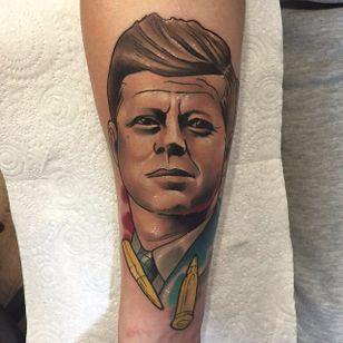 JFK Tattoo by Brenden Jones #JFK #NeoTraditional #NeoTraditionalPortrait #Portrait #PopCulture #BrendenJones