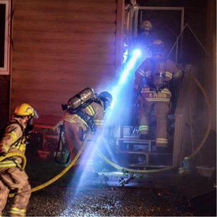 Marshall out on night shift tackling a blaze photo from Marshall Perrin on Facebook #MarshallPerrin #tattoomodel #tattooedguys #firefighter #tattoododudes