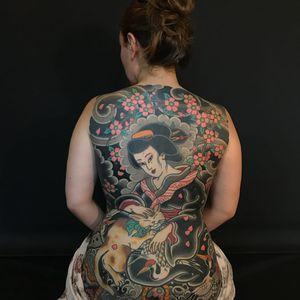 Cat Queen tattoo by Santu Horisada #SantuHorisada #Horisada #besttattoos #Japanese #backpiece #cat #geisha #kimono #crane #cherryblossoms #smoke #clouds #coinclouds #waves #kitty #cute #pattern #tattoooftheday