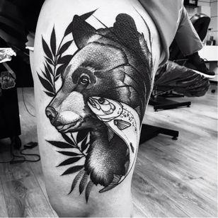 Bear tattoo by Julia Szewczykowska #JuliaSzewczykowska #blackwork #neotraditional #bear #fish