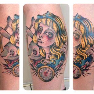 Alice in Wonderland tattoo by Odrëy #Odrëy #illustrative #newschool #neotraditional #lady #aliceinwonderland