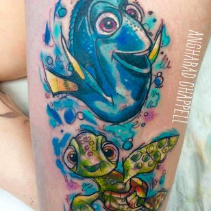 Squirt and Dory tattoo by Angharad Chappell #AngharadChappell #Disney #FindingNemo #FindingDory #Dory #Squirt
