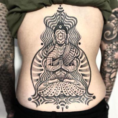 Meditation tattoo by Jondix #Jondix #besttattoos #blackandgrey #tribal #geometric #meditation #buddhist #buddha #lotus #pattern #ornamental #dotwork #dots #circles #meditate #yoga #tattoooftheday