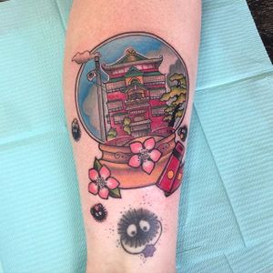 Spirited Away tattoo by Carly Kroll. #CarlyKroll #girly #pinkwork #cute #neotraditional #popculture #kawaii #snowglobe #spiritedaway #studioghibli #neotraditional