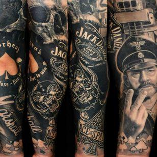 Badass sleeve tattoo by Dr Ink #DrInk #motörhead #motorhead #lemmy #blackandgrey #snaggletooth #marshall #jackdaniels #aceofspades #skull