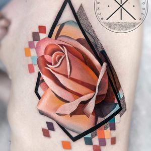 Rose by Chris Rigoni #chrisrigoni #color #realism #realistic #abstract #dotwork #shapes #linework #rose #flower #nature #tattoooftheday