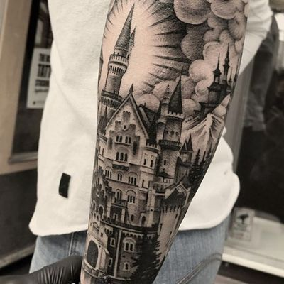 Black and grey castle by Andy Blanco #AndyBlanco #blackandgrey #castle #tower #cloud #tattoooftheday