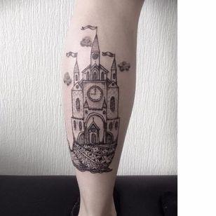 Castle tattoo by Maria Velik #MariaVelik #illustrative #linework #castle