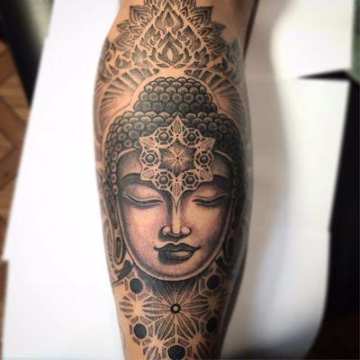The gift of enlightenment by Jondix #Jondix #blackandgrey #portrait #ornamental #pattern #sacredgeometry #geometric #dotwork #linework #mandala #Buddha #buddhism #tattoooftheday