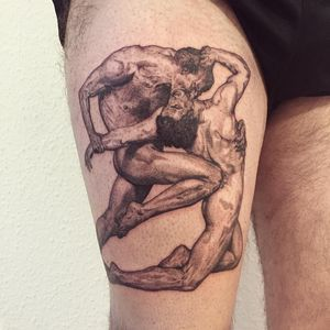 Dante and Virgil in Hell by Bouguereau tattoo by Tanya DSM #Tanyadsm #favoritetattoo #realism #fineart #painting #Bouguereau #fight #hell #violence #body #men #realistic #dantesinferno