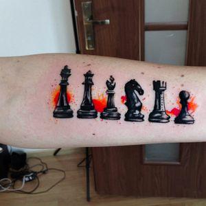 Awesome chess tattoo by Jagood #Jagood #JagoodTattoo #watercolor #warsaw #polishartist #chess