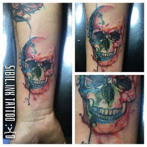 Watercolor Skull Tattoo by Sibil Ink #watercolorskull #watercolor #skull #SibilInk