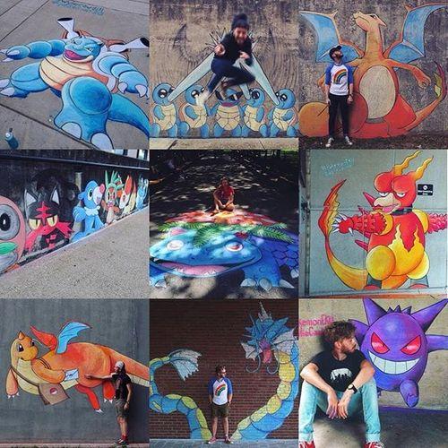 Pokemon Chalk Art by Wylie Caudill #pokemon #pokemonchalkart #pokemonstreetart #chalkart #streetart #chalkartist #streetartist #WylieCaudill