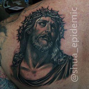 Black and Grey Jesus Tattoo by @shua_epidemic #blackandgrey #Jesus #BlackandGreyJesus #Religious #Christ #Shua