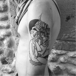 Cubist tattoo by Gumo #Gumo #cubism #cubist #linework #contemporary #finearts #picasso