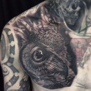 Owl Tattoo by Ben Kaye #owl #realism #blackandgrey #blackandgreyrealism #portrait #BenKaye