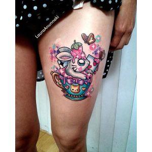 Bunny kawaii tattoo by Laura Anunnaki. #bunny #rabbit #cute #kawaii #teacup #bunnytattoo #LauraAnunnaki