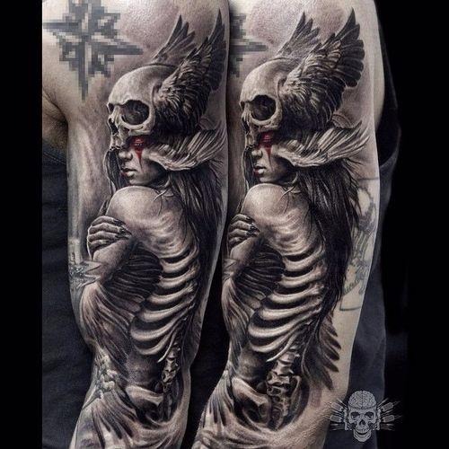 Skeleton Lady Tattoo by Javier Antunez @Tattooedtheory #JavierAntunez #Tattooedtheory #Blackandgrey #Realistic #Skeleton #Skull #Lady