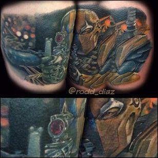 Deathstroke Tattoo by Rodd Diaz #Deathstroke #DeathstrokeTattoos #DeathstrokeTattoo #DCComics #DCTattoos #ComicTattoos #DCTattoos #VillainTattoos #RoddDiaz