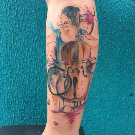 #ArthurOliveira #watercolor #aquarela #tatuadoresdobrasil #brasil #brazil #colorido #colorful #woman #mulher #violoncelo #cello #musica #music