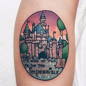 Disneyland tattoo by Lauren Winzer. #disney #disneyland #castle #waltdisney #LaurenWinzer