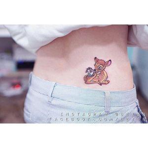 Bambi tattoo by Seyoon Gim. #SeyoonGim #seyoon #SouthKorean #microtattoo #bambi #fawn #deer #disney